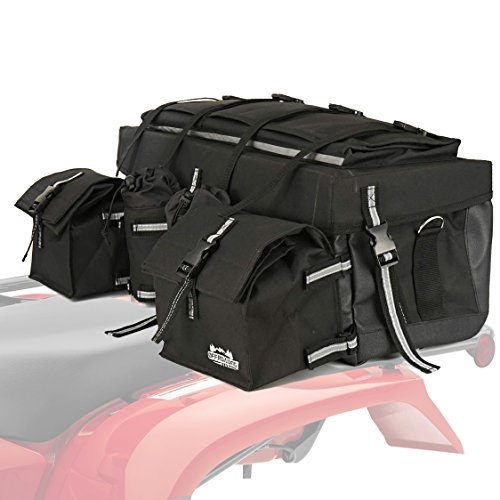 (Offroading Gear ATV Rear Storage Bag with Rain Cover and Insulated Cooler Bags, Black)