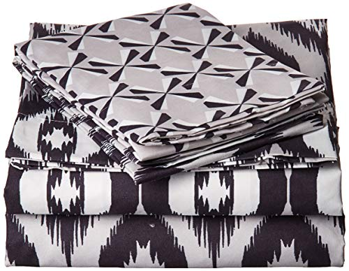- Chic Home 4 Piece Arundel Ikat Diamond and Contemporary Geometric Pattern Print Technique Twin Sheet Set Black