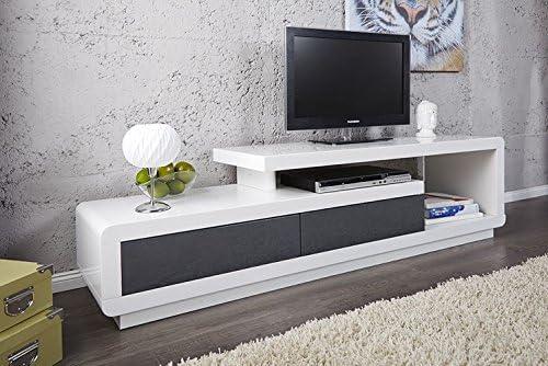 Mueble TV mueble de salón Marvin color blanco/gris lacado. Armario y Ultra Tendance: Amazon.es: Hogar