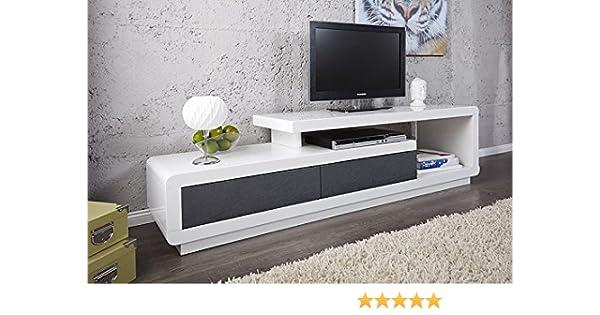 Mueble TV mueble de salón Marvin color blanco/gris lacado. Armario ...