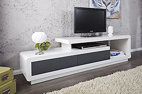 Mueble TV mueble de salón Marvin color blanco/gris lacado ...