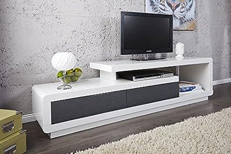 Mueble TV mueble de salón Marvin color blanco/gris lacado ...