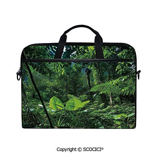 Printed Waterproof Laptop Shoulder Messenger Bag Case Green Jungle Untouched Nature Environmental Concerns Flora Fauna Jungle Rainforest Decorative for 15 Inch Laptop - Messenger Jungle Green Bags