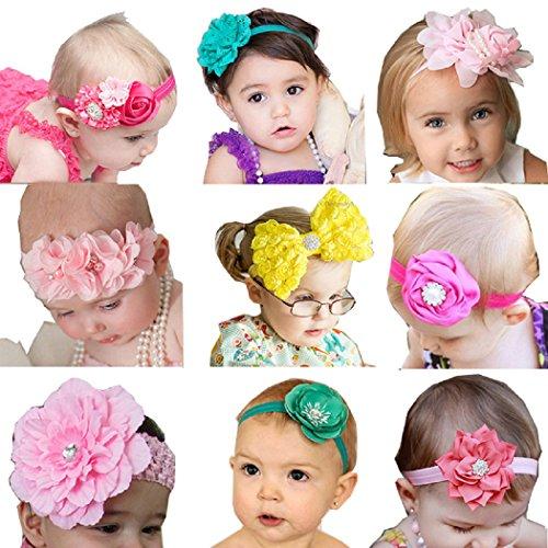 Bandeau de tête Bandeaux Fille de Quest Doux 9 Pièces Porter bébé Fleur