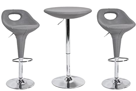 Set completo bar hole tavolo sgabelli sedie polyrattan grigio