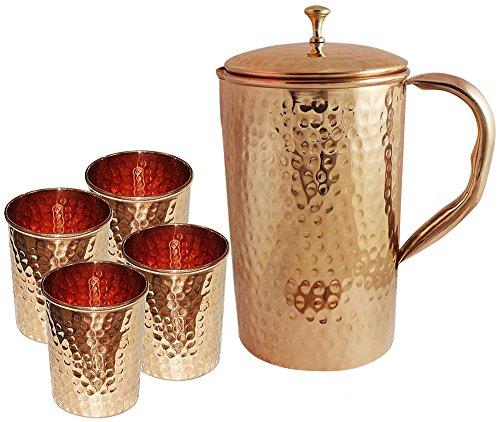 Jug Set (SKAVIJ Pure Copper Jug with Lid and 4 Tumblers Set Hammered Style Water Pitcher for Ayurveda Health Benefits Capacity 54 oz Christmas Gift Item)