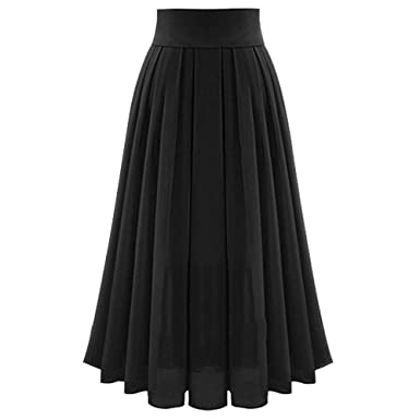 f7f0804251 Long Skirt Women Solid Color High Waist Shirring Fashion Ankle-Length Maxi  Skirt (S