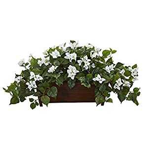 Nearly Natural 8218-WH Bougainvillea Artificial Decorative Planter Silk Plants White 23