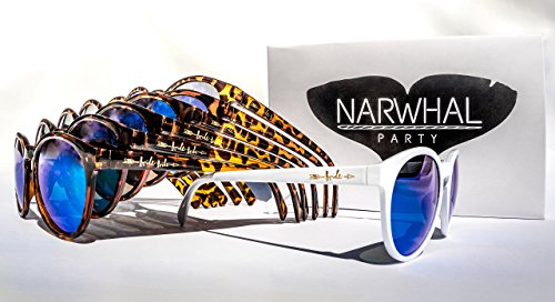 Bride Tribe Sunglasses by Narwhal Party - 1 Pair of White and 6 Pairs of Tortoise Shell Glasses with Blue Mirror Lenses are Perfect for Bridesmaid Gifts, Bridal Party Favors, and Bachelorette (Beach Bachelorette Party Invitations)