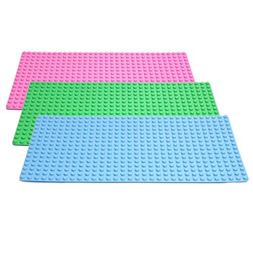 3er Set Große Grund- Bauplatte Mit Noppen Für Lego Duplo Ohne Steine - 51 cm x 26 cm, Rechteckig, Hellgrün/Blau/Rosa - Riesige Platte Für Riesigen Spielspaß Mit Kindern im Pack - 1739 Von Katara