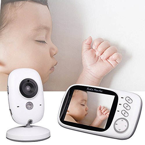 "Wewdigi Wireless Video Baby monitor Night Vision Nanny Security Baby Camera Temperature Monitoring with Camera 3.2"" LCD Digital Screen"