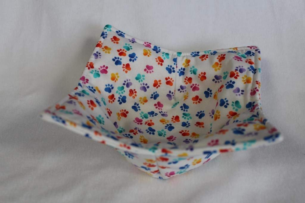 Microwave Bowl Cozy Bowl Potholder Reversible Paw Prints