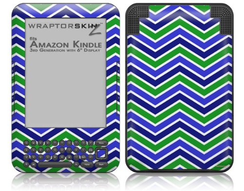 Zig Zag Blue Green - Decal Style Skin fits Amazon Kindle 3 Keyboard (with 6 inch display)