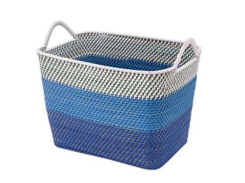 KOUBOO Laguna Rectangular Rattan Storage Basket with Ear Handles, Blue/White