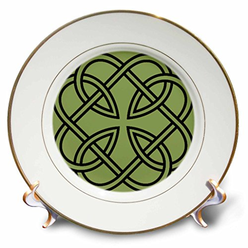 3dRose cp_44274_1 Black Celtic Design on A Moss Green Background-Porcelain Plate, 8