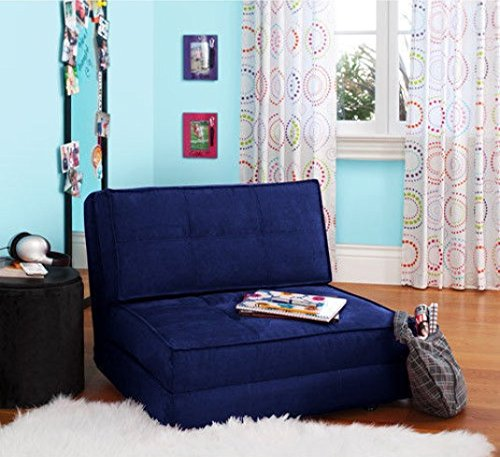 Your Zone - Flip Chair Convertible Sleeper Dorm Bed Couch Lounger Sofa Multi Color New (Blue)