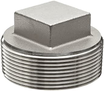 "Stainless Steel 316 Cast Pipe Fitting, Square Head Cored Plug, Class 150, 1"" NPT Male"