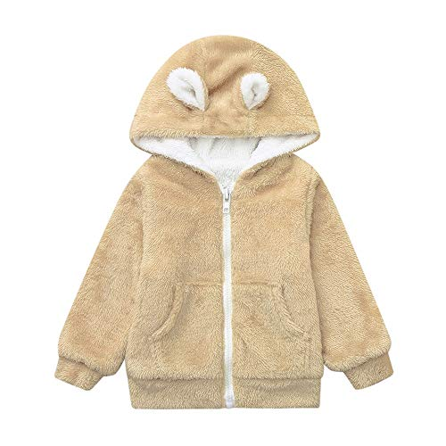 Birdfly Newborn Baby Boys Girls Long Sleeves Velvet Cartoon Hooded Coat Clothes Snowsuit (6-12M, Khaki)