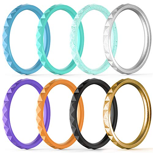 (ThunderFit Thin and Stackable Silicone Rings, 8 Pack Silicone Wedding Bands for Women - Diamond Pattern)