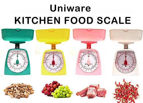 Dial Food Scale Kitchen - UNIWARE 8508 Mini Dial Kitchen Food Scale (Assorted Colors)(Capacity: 5kg/ 11lb), No Battery, Medium, Pink, White, Yellow,Green