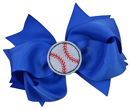 Baseball Hair Bow with Embroidered Felt Baseball Applique (Royal Blue) ()