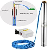 LOVSHARE 110V Deep Well Pump 1.5HP 4 Inch Submersible Pump 200FT 40GPM Stainless Steel Deep Well Submersible Pump for Extraction of Groundwater with Control Box (1.5HP 110V with Control Box)