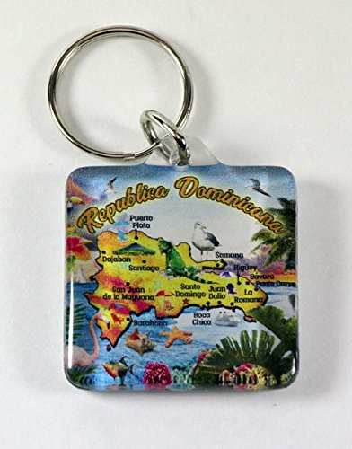 - Dominican Republic Map Acrylic Square Souvenir Keychain 1.5