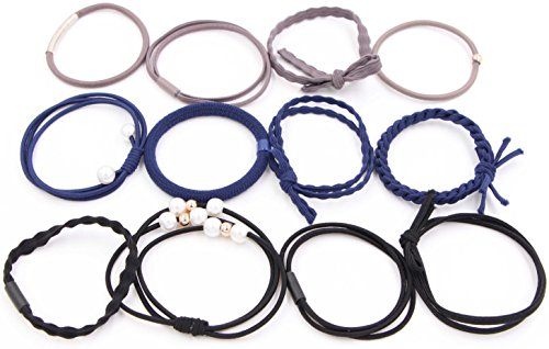 10 Search Coil (Women's Hair Ties - 12 Pack Simply Hairbands Ponytail Holders Elastics Hair Tie Accessories Girls Fashion Stretch Organizer Bands Ribbon Bracelets Multi Pattern No Crease Damage For Thin/Thick Hair)