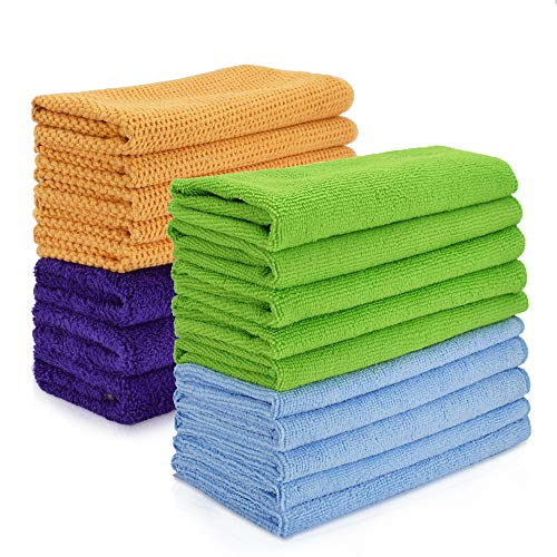 Cleaning rags, Thmer 18 Pcs Microfiber Cleaning Cloths for Kitchen Car Windows Glass bathroom Highly Absorbent No Fabric Soft Microfiber 12x16 inches