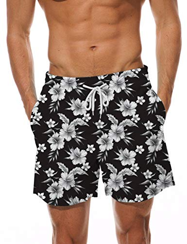 AIDEAONE Mens Swim Trunks Floral Quick Dry Beach Boardshorts with Mesh Lining Casual Bathing Suit Sports Shorts