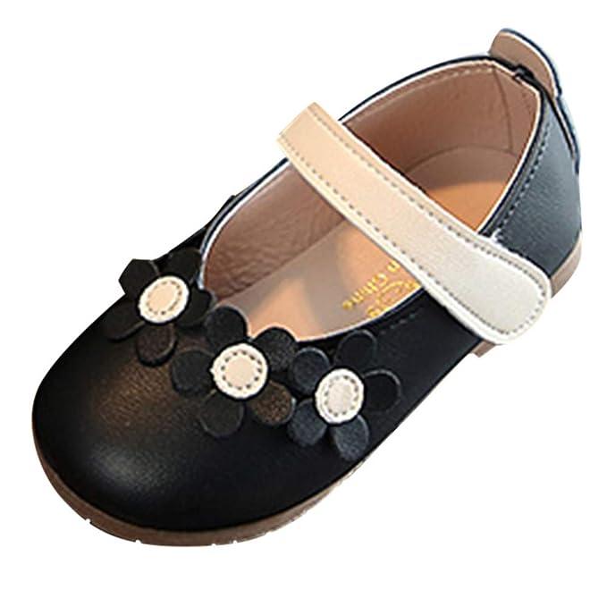 YanHoo Zapatos para niños Flor de Cuero Princesa Superficial Bailar Solo Zapatos Informales Niños niñas Flores Boca Baja Zapatos pequeños Zapatos Zapatos de ...