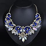 style13 blue - Women Fashion Pendant Crystal Flower Choker Chunky Statement Chain Bib Necklace