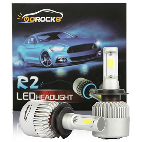 VoRock8 R2 COB H7 8000LM Led Headlight Conversion Kit,High Beam Low Beam Headlamp, Fog Light, Halogen Head Light Replacement, 6500K Xenon White, 1 Pair, 1 Year Warranty ()