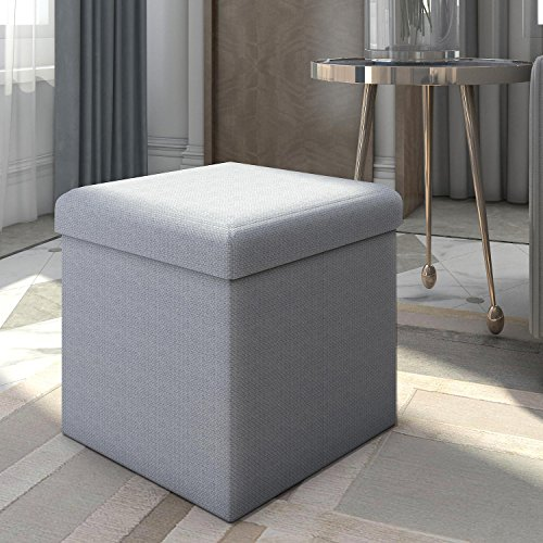 Drawers Chest Style Xv Of (Lifewit Foldable Cube Ottoman Bench with Toy Storage Chest and Footstool Light Blue, 15 x 15 x 15 Inch)