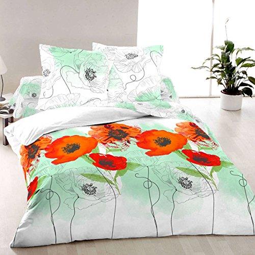 Poppies (Scarlet) - SoulBedroom 100% Cotton Bed Set (Duvet Cover 90