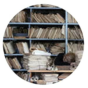 alfombrilla de ratón trabajador cansado en una oficina pasada de moda - ronda - 20cm
