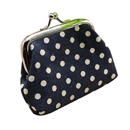 Hot Sale Women Coin Purse,Polka Dot Small Linen Wallet Card Holder Kisslock Change Clutch Handbag (9cmX7cm, Deep Blue)