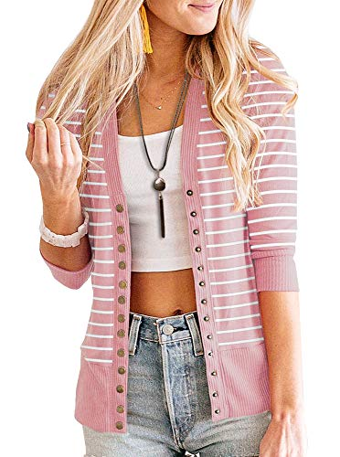 PAPOSON Women's 3/4 Sleeve Striped Button Down Casual Cardigan Soft V-Neck Knitwear (Pink Stripe,L)
