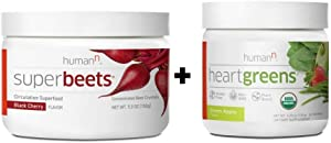 HumanN Superfood Heart Support Bundle | SuperBeets Circulation Superfood Concentrated Beet Powder Nitric Oxide Boosting with HeartGreens, SuperBeets Black Cherry + HeartGreens Bundle Set
