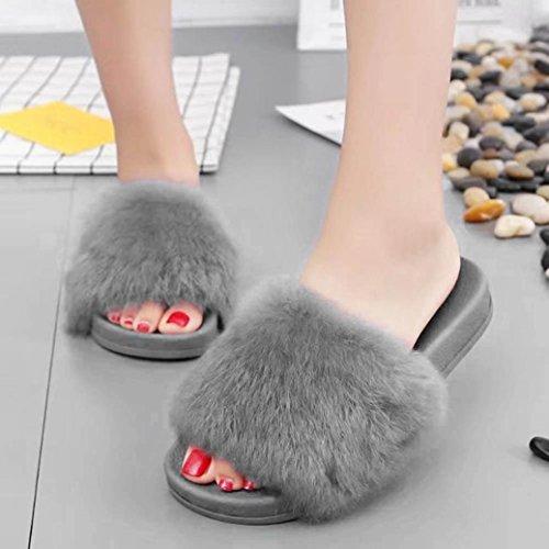 dbc3e8d3ac3 Maple Leaf Womens Flat Non-slip Soft Fluffy Faux Fur Flat Slipper Flip Flop  hot sale
