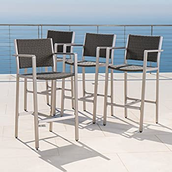 Crested Bay Patio Furniture ~ 5 Piece Outdoor Wicker and Aluminum Bar Set