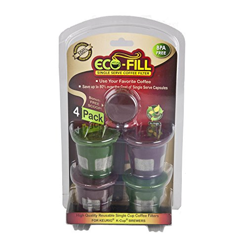 Perfect Pod Eco-Fill 4 Pack Refillable Capsules and Coffee Scoop, Keurig 1.0 compatible