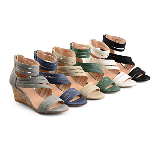 Brinley Co. Womens Lacey Strappy Faux Leather Faux Cork Wedges