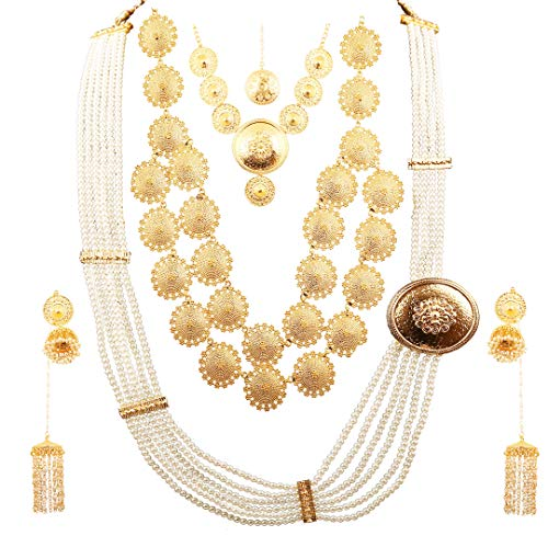 Touchstone Indian Bollywood Faux Pearls Beaten Metal Bahubali Fame Elaborate and Dramatic Complete Bridal Designer Jewelry Necklace Sets Combo for Women in Gold Tone. ()