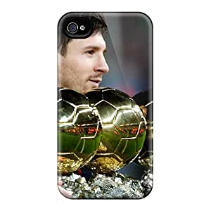 Hot CUF6146nEvd The Player Of Barcelona Lionel Messi Is With His Trophies Tpu Cases Covers Compatible With Iphone 4/4s