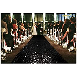 ShinyBeauty 4FTX15FT-Sequin Aisle Runner-Black Sparkly Carpet Runner for Wedding/Christmas/Thanksgiving Decor(36x180-Inch)