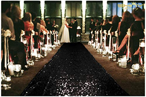 ShinyBeauty 4FTx30FT Aisle Runners for Weddings Sparkling Black