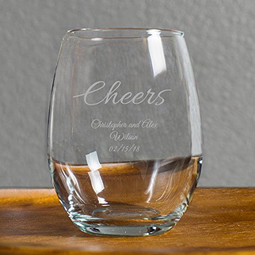 Cheers Laser Engraved 9 Ounce Stemless Wine Glass, Stemless Wine Glass 48 Count, Anniversary Wedding Favor, Bride to Be Best Friend Gift by customgift