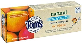 product image for Tom's of Maine Natural Anticavity Fluoride Toothpaste for Children, Outrageous Orange Mango, 4-Ounce Tube