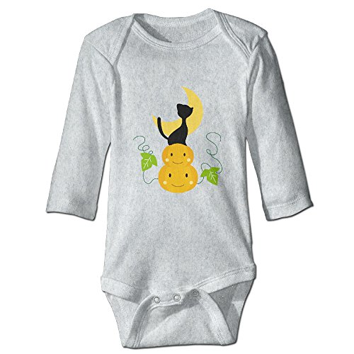 Custom Halloween Cat Baby Girl And Boy Climbing Cotton Long Sleeve T Ash [ - 6 M